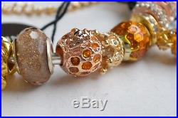 Authentic Pandora Bangle S Silver Bracelet Rose Gold Bee Honey Shine Tone Charms