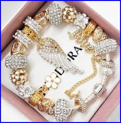 Authentic Pandora Charm Bracelet With Gold Angel Wing Crystal European Charms