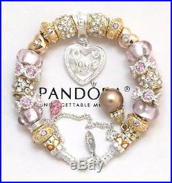 Authentic Pandora Silver 8.3 Bracelet Wife Mom Pink Gold Pearl European Charms