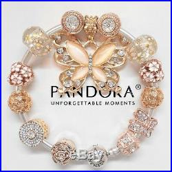 Authentic Pandora Silver Bangle Bracelet With Rose Gold Butterfly European Charm