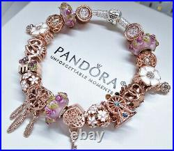 Authentic Pandora Silver Charm Bracelet with Rose Gold Pink European Charms. New