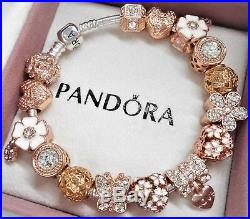 Authentic Pandora Sterling Silver Bracelet ROSE GOLD ANGEL HEART European Charms