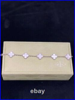 Authentic Van Cleef Alhambra Bracelet White Gold, White Mother-of-Pearl