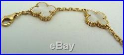 Authentic Van Cleef & Arpels Alhambra 18k Gold Mother of Pearl 5 Motifs Bracelet