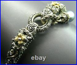 BARBARA BIXBY Sterling Silver & 18K GOLD ROSETTE Cuff Bracelet BLUE PEARL DROP