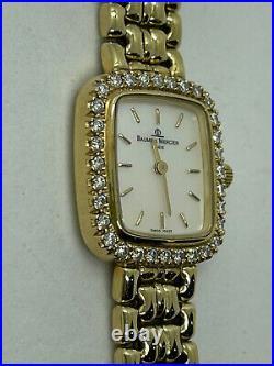 BAUME MERCIER Swiss Ladies Watch Diamond Mother of Pearl 14k yellow gold Quartz