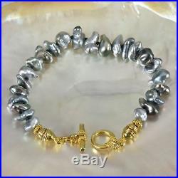 BRACELET TAHITIAN South Sea KESHI PEARLS & Gold Vermeil 925 SILVER 6 ¾ inch