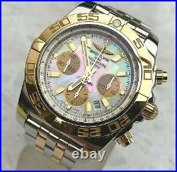 BREITLING CHRONOMAT 44 SOLID 18k GOLD/STEEL MOTHER of PEARL DIAL Ref. CB011012
