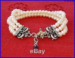 Barbara Bixby 18k Sterling White Pearl Amethyst 3 Strand Bracelet Gold Lotus 925
