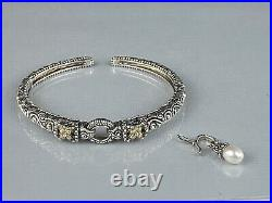Barbara Bixby Bracelet Cuff Pearl Dangle 925 Sterling Silver 18k Gold