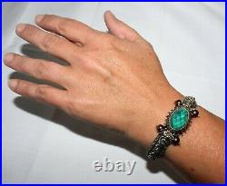 Barbara Bixby Green Fluorite & Pearl Sterling & 18k Yellow Gold Hinged Bracelet