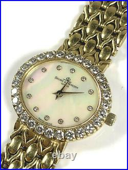 Baume & Mercier 18K Yellow Gold Mother of Pearl Dial Diamond Watch 24MM 18310 9