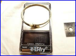 Beautiful 10 K Gold 6 Diamond & 2 Pearl Twist On 6.5 Bangle Bracelet