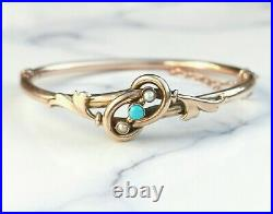 Beautiful Antique Victorian /Edwardian Gold Turquoise and Pearl Bangle