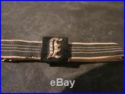 Beautiful Victorian Rare 9ct Gold, Jet & Seed Pearl Initial E, Ribbon Bracelet