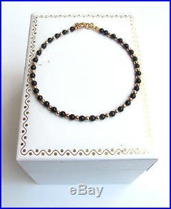 Black onyx beads 14k gold bracelet small bead solid gemstone men women bangle
