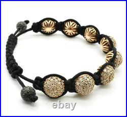 Buddha Diamond Pave Bead 14K Solid Rose Gold Bead Ball Bracelet Men's Jewelry