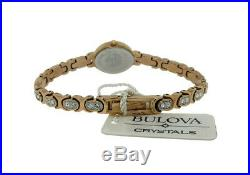Bulova Crystals 98L200 Women's Analog Oval Rose Gold Tone Mother of Pearl Watch