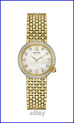 Bulova Women's 98R218 Quartz Diamond Accent Gold Bracelet 28mm Watch