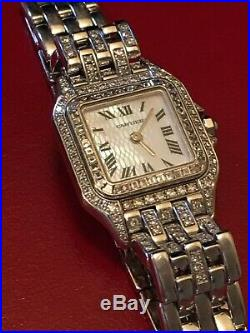 CARTIER PANTHERE womans watch 18K WHITE GOLD DIAMOND mother of pearl face