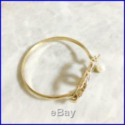 CHANEL BRACELET Gold Bangle Gold White Stone CC Logo Swing Pearl 02P Authentic