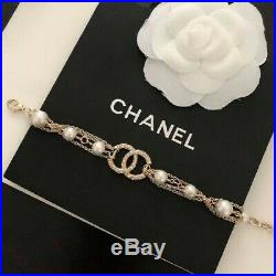 CHANEL BRACELET Gold Rhinestone CC Logo Gold Chain Pearl Arm around 7.28 inch