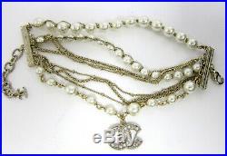CHANEL CC Logo Gold Tone Faux Pearl Bracelet