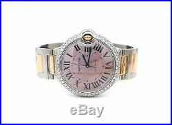 Cartier Women's'Ballon Bleu' Two-tone Pink Mother of Pearl 36mm Watch W2BB0011