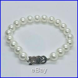 Certified $3,950 Estate Mikimoto Akoya 8.50 Mm 7.5 Pearl 18 Kt Bracelet 915305