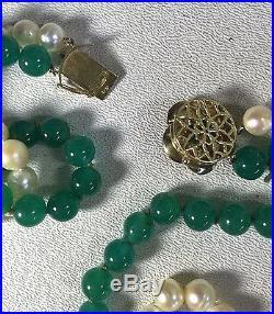 Chalcedony Quartz Cultured Pearl Necklace & Bracelet Set with Fancy 14K Clasps