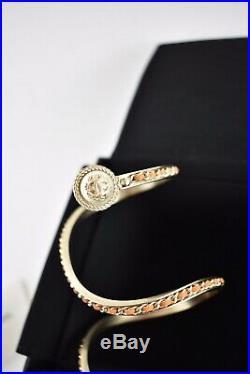 Chanel 18C Orange Leather Gold Chain Pearl CC Wrap Around Arm Cuff Bracelet S