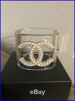 Chanel Clear CC Pearl Cuff Bracelet