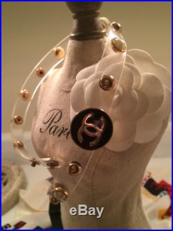 Chanel Cloisonné Gold & Black Button Acrylic Band Bracelet With Synthetic Pearls