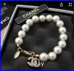 Chanel Coco Authentic Pearl Bracelet Metal, Glass Pearls, Resin & Strass Gold