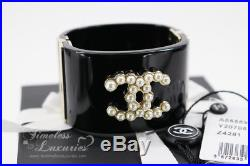 Chanel Iconic CC Logo Pearl Resin Cuff Bracelet Matte Gold Hw 15p