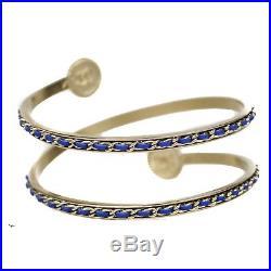 Chanel New 2018 Woven Arm Cuff Bracelet Blue Gold Pearl CC Logo Bangle