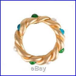Chanel Pearl Glass Bangle Vintage Gripoix Bracelet Gold Green Blue Cuff CC Stone