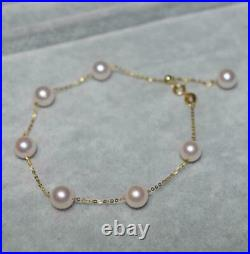 Charming AAA+ real 6-6.5mm white akoya round pearl bracelets 18K gold adjustable