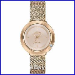 Citizen Eco-Drive Women's Ambiluna Rose Gold-Tone Bracelet 32mm Watch EM0643-50X