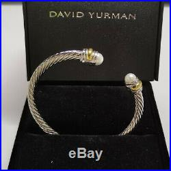 Classic David Yurman Cable Bracelet with Pearl and 14k Gold 5mm Sterling Silver