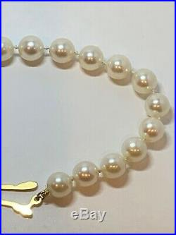 Classic Estate Mikimoto Akoya Pearl Bracelet 18k Yellow Gold with 22 Pearls