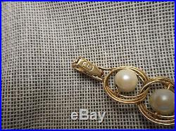 Classic Vintage 1950's 14K Yellow Gold & 7mm Pearl Link Bracelet
