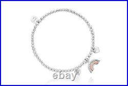 Clogau Silver & Rose Gold Enfys Bach Heart Affinity Bead Bracelet 16.5-17.5cm