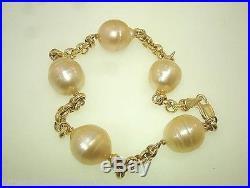 Cultured South Sea Golden Pearl 14k Yellow Gold Rolo Link Bracelet 8 Adjustable