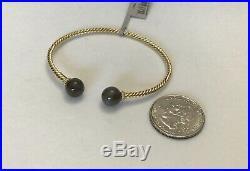 DAVID YURMAN 18K Gold Solari Moonstone Dia Bead Cable Cuff Bracelet $1350 NWT