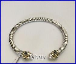 DAVID YURMAN Silver 14K Gold 5mm Renaissance Cable Bracelet Pearl Iolite $1200