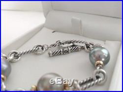 DAVID YURMAN Sterling 18k Gold Tahitian Pearls Chain Toggle Bracelet Retail $995