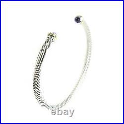 DAVID YURMAN Women's Cable Classic Bracelet with 18K Gold & Amethyst 4mm NEW