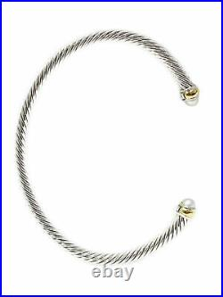 DAVID YURMAN Women's Cable Classic Bracelet with 18K Gold & Pearl 4mm NEW
