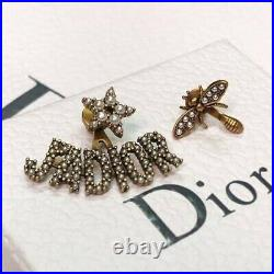 DIOR JADIOR Earrings Antique Silver White Pearl Gold Bee Logo Bracelet Necklace